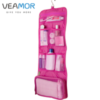 Travel Hotel Travel Portable Folding Collar Hook Hanging Toiletry Kits Cosmetic Bag B177