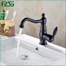 FLG Free Shipping Deck Mounted 360 Degree Swivel Faucet Bathroom Basin Sink Mixer Tap Oil Rubbed Bronze Faucet Black Mixer M267O