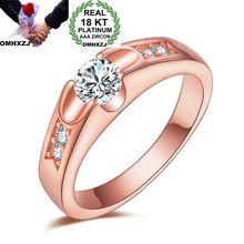 OMHXZJ Wholesale Personality Fashion Woman Girl Party Wedding Gift Rose Gold Luxury AAA Zircon 18KT Rose Gold Ring RN42 цена и фото