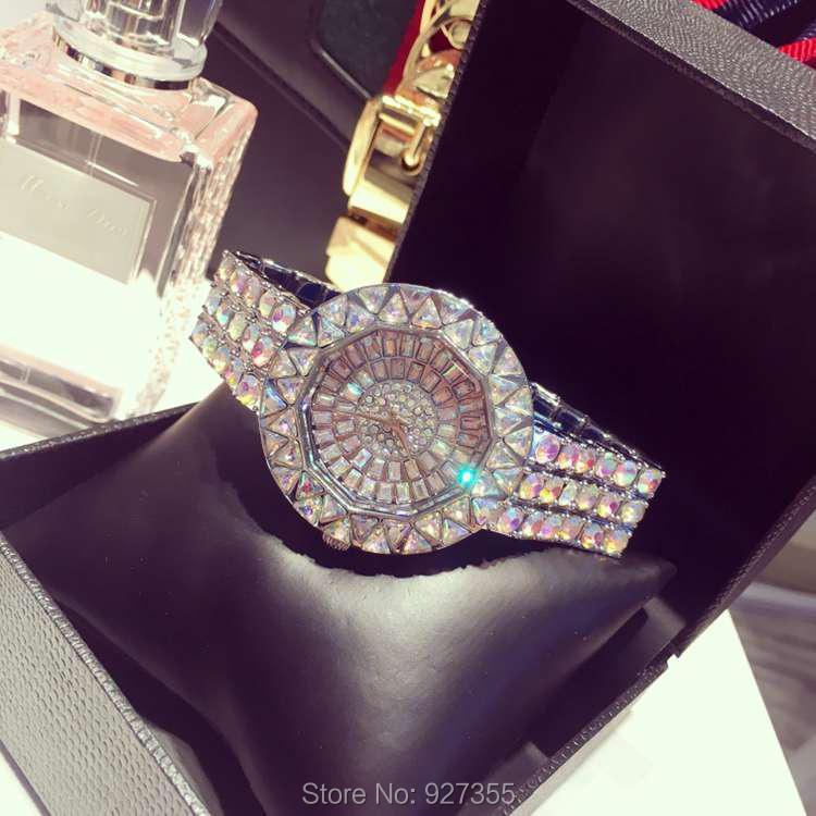 ФОТО 2017 new style! Top Quality Women Watches Luxury Steel Full Rhinestone Wristwatch Lady Crystal Dress Watches Female Quartz Watch