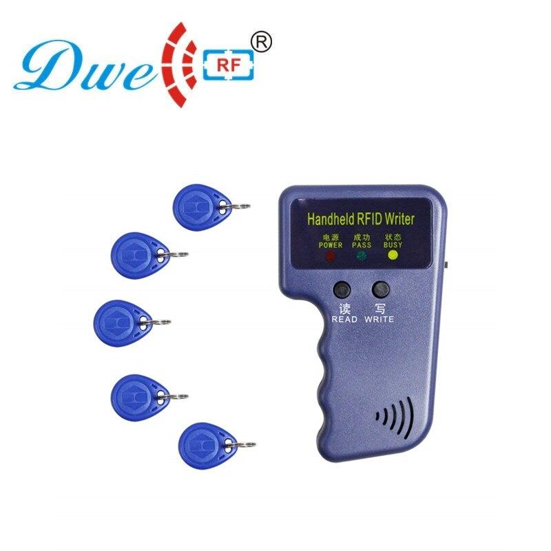 Clon rfid card etiqueta para llave copiadora, duplicadora de llaves, rf writer 125khz, programador con 5 llaveros EM4305, sin carga Lector de fotocopiadora de tarjetas RFID NFC, duplicador inglés, programador de frecuencia 10 para tarjetas de ID IC y todas las tarjetas 125kHz + 5 uds. ID 125k