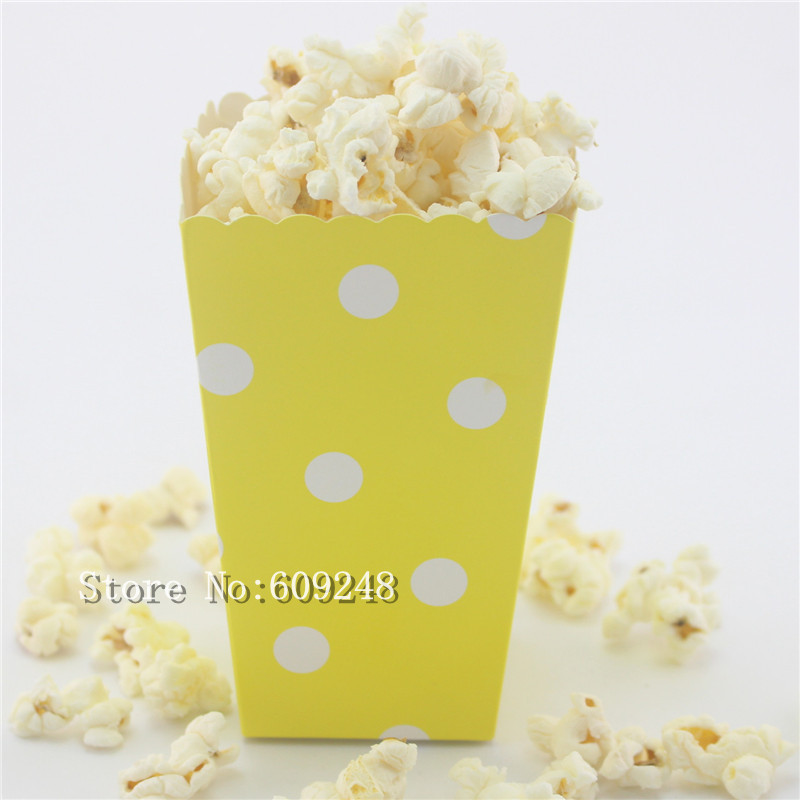 24pcs white polka dot yellow paper popcorn boxesparty favor boxesgoodie candy buffet