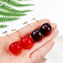 Korea Fashion Perhiasan Lucu Bulat Cherry Strawberry Liontin Anting-Anting Resin Cherry Anting-Anting untuk Wanita Pernikahan Perhiasan P398-P403(China)