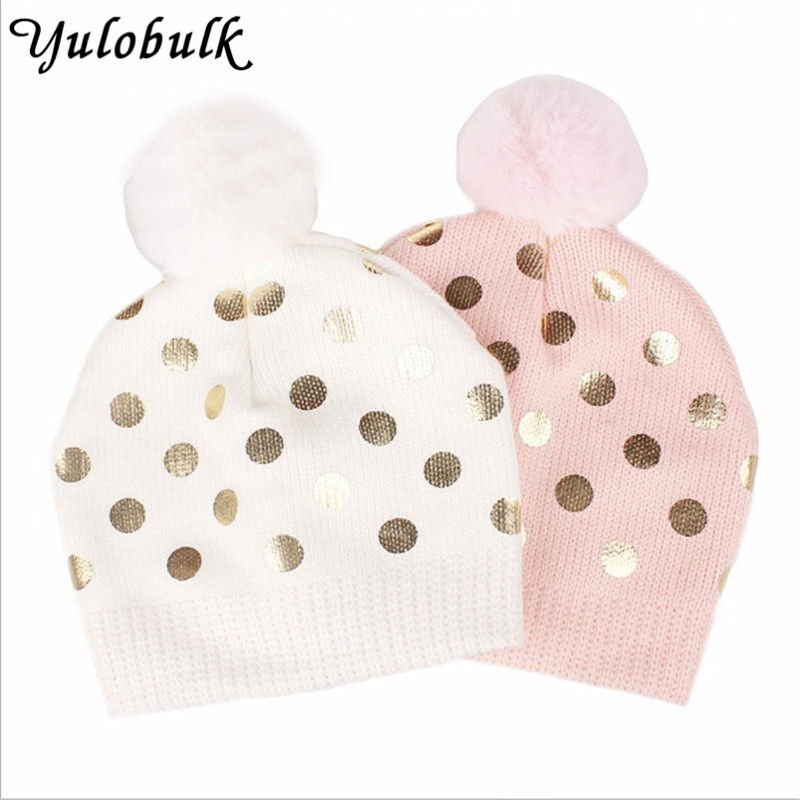 6dc63eb8279 Winter Children Cap Baby Girl s Gold Dot Printing Pompom Hat Knitted Kids  Beanie Fur Pom Pom Hats Toddler Kids Bobble Hat-in Hats   Caps from Mother    Kids ...