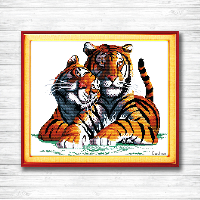 Fall In Love Tigers Animal Decor Painting Counted Print On Canvas Dmc Needlework Kits Embroidery Sets 14ct 11ct Dms Cross Sch