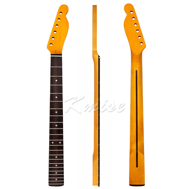 Maple Guitar Neck Rosewood Fingerboard For Electric Guitar Replacement Parts Yellow 22 Frets White Dots Back Inlay maple guitar neck for electric guitar neck rosewood fingerboard 22 fret white dots acurated heel