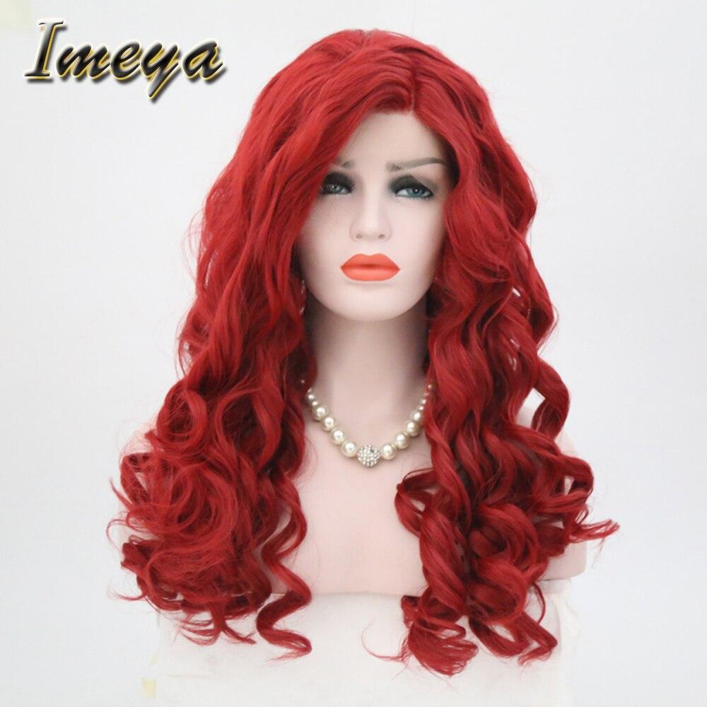 Imeya 150% Dichte Wärme Beständig Rot Schöne Farbe Synthetische Haar Kann Permed Lose Tiefe Welle Lace Front Perücken