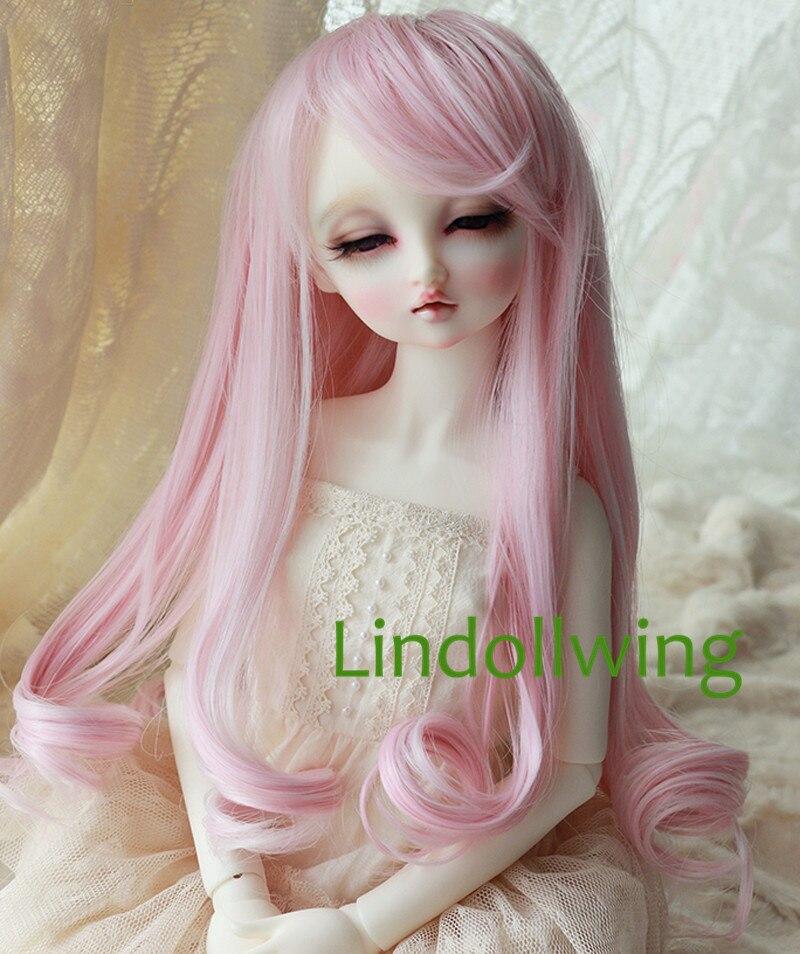 1/4 BJD Wig Dal DD Dollfie Doll Wig 7-8 Inch Long Pink Wig 2333