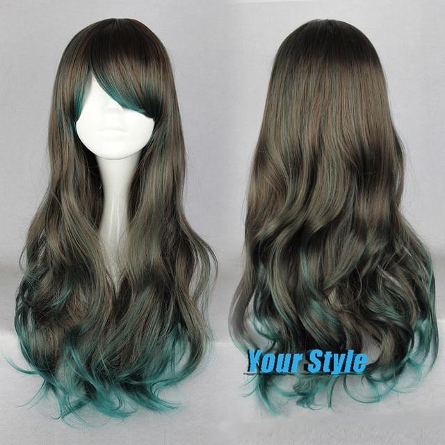 Japanese Harajuku Lolita Wig Natural Cheap Hair Wig 68 Cm Ombre Grey