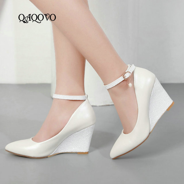 6837cc3ddc7 US $21.56 53% OFF|Aliexpress.com : Buy Women Shoes Sequined Wedges Pumps  Fashion Buckle White High Heels Sexy Pointed Toe Spring Summer Party Shoes  ...