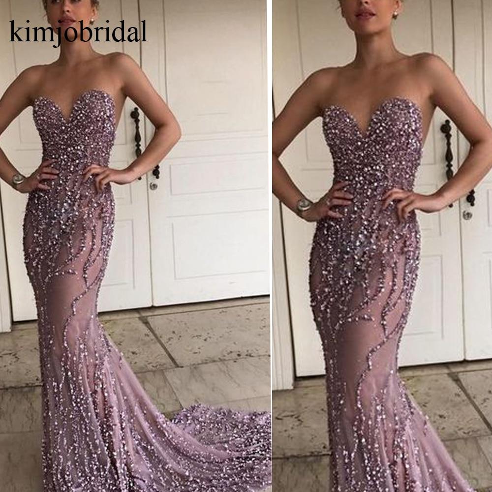 2019 robes de soirée en cristal sirène cristal sexy dos nu rose perlé robes de soirée vestido noche largo