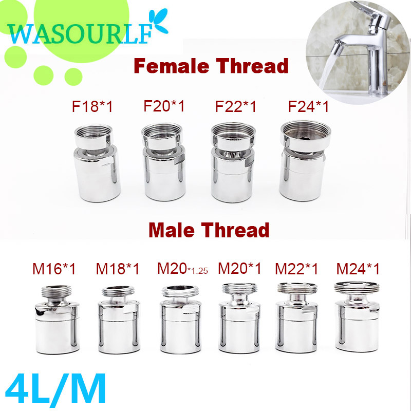 WASOURLF Faucet accessories adapter adjustable 360 degree brass tap chrome water saving aerator 22mm Female male thread part