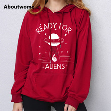 2017 Cool Stars hoodie women Space sweatshirts UFO Alien Pattern hooded Loose Full Sleeve sweatshirt Fashion Streetwear Hoodies(China)