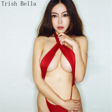 Trish Bella 2018 Solid color halter bandage Siamese Bikini Taste Backless bodystocking sexy costumes open crotch catsuit