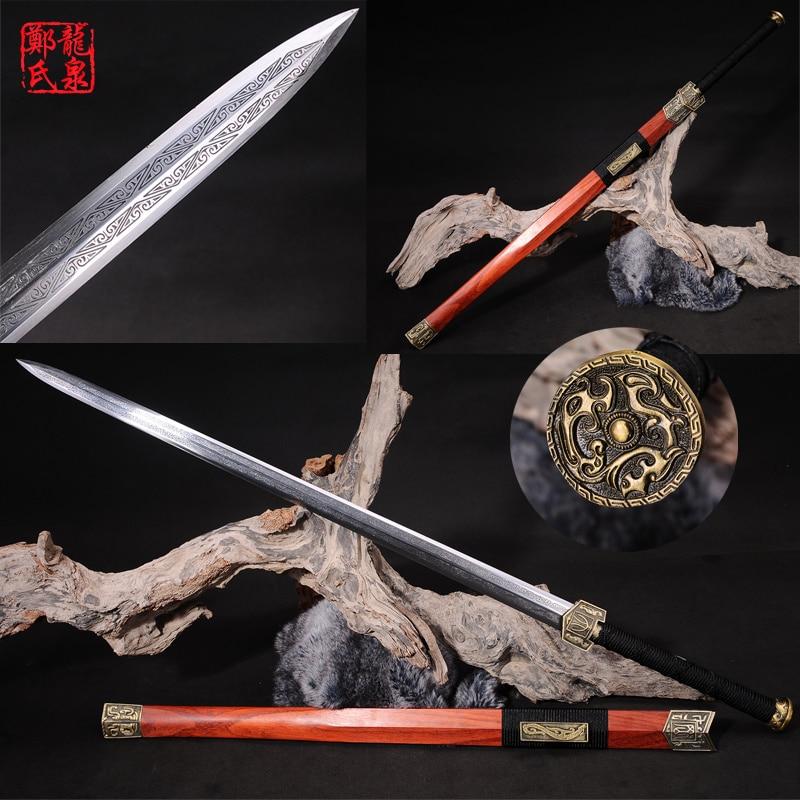 Настоящий Китайский большой меч 1065 Сталь лезвие красный покрытие тисненый узор металл ремесло украшения дома
