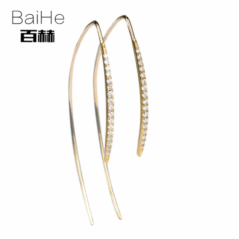 BAIHE Solid 14K Yellow Gold Certified 0.26ct H/SI Round 100% Genuine Natural Diamonds Wedding Trendy Fine Jewelry Stud Earrings цена