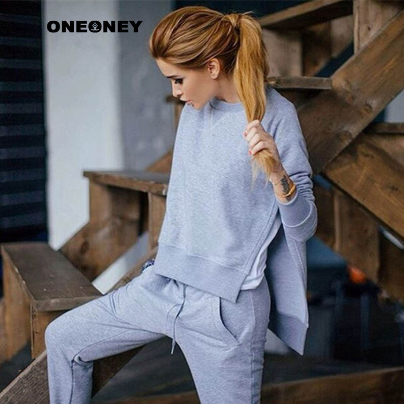 Women Workout Yoga Sets Split Hoodies +Pants Fitness Clothing Gym Sports Running Slim Pants+Tops Sport Suit For Female Grey L sports wear for women gym yoga sets fitness set gym workout sports wear mesh patchwork sports suit woman running clothing slim