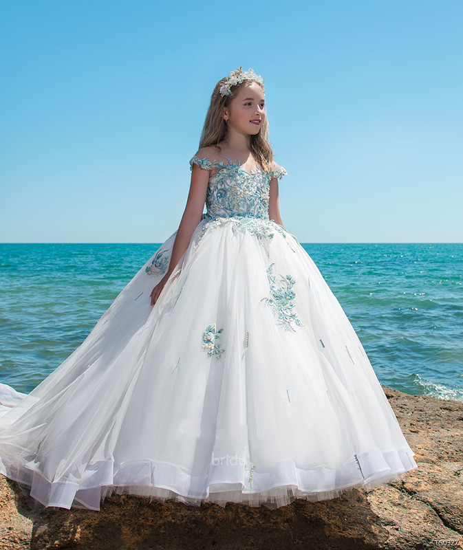 Luxury New Flower Girls Dresses for Wedding Ball Gown Pearls Beaded Appliques Girls Long Communion Dress Pageant Gown Size 2-16Y берет