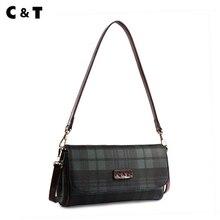 C & T Hochwertige handtasche für frauen lieblings paket Damier grid leinwand tote kette Messenger bags Weiblichen beutel CA1601
