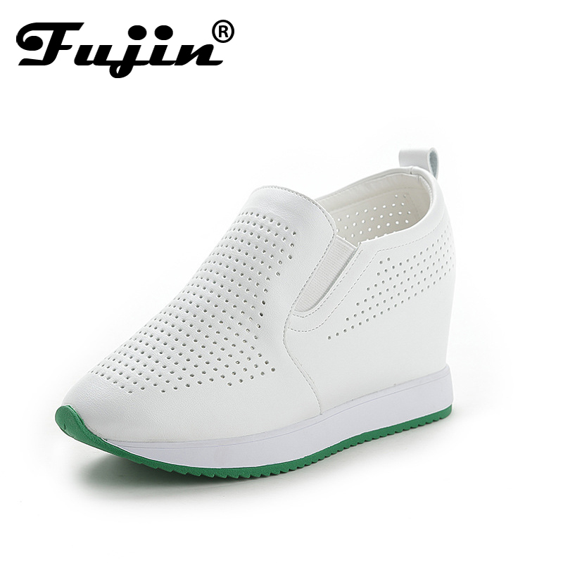 Fujin Women Fashion Breathable Platform Shoes Casual Female Footwear Leisure Ladies White Black Shoes Women's Vulcanize Shoes 2018 women summer slip on breathable flat shoes leisure female footwear fashion ladies canvas shoes women casual shoes hld919