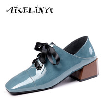 AIKELINYU Ankle Strap New Pumps Women Fashion High Square Heel Cow Leather Shoes Autumn Comfortable Lace-Up Casual
