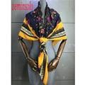 Marca de moda de Lujo Bufandas De Las Mujeres Envuelve Bandana de la Bufanda de Seda Pura Beach Gasa Bufandas Bufanda de Las Mujeres 120*120 cm Hiyab cuadrados
