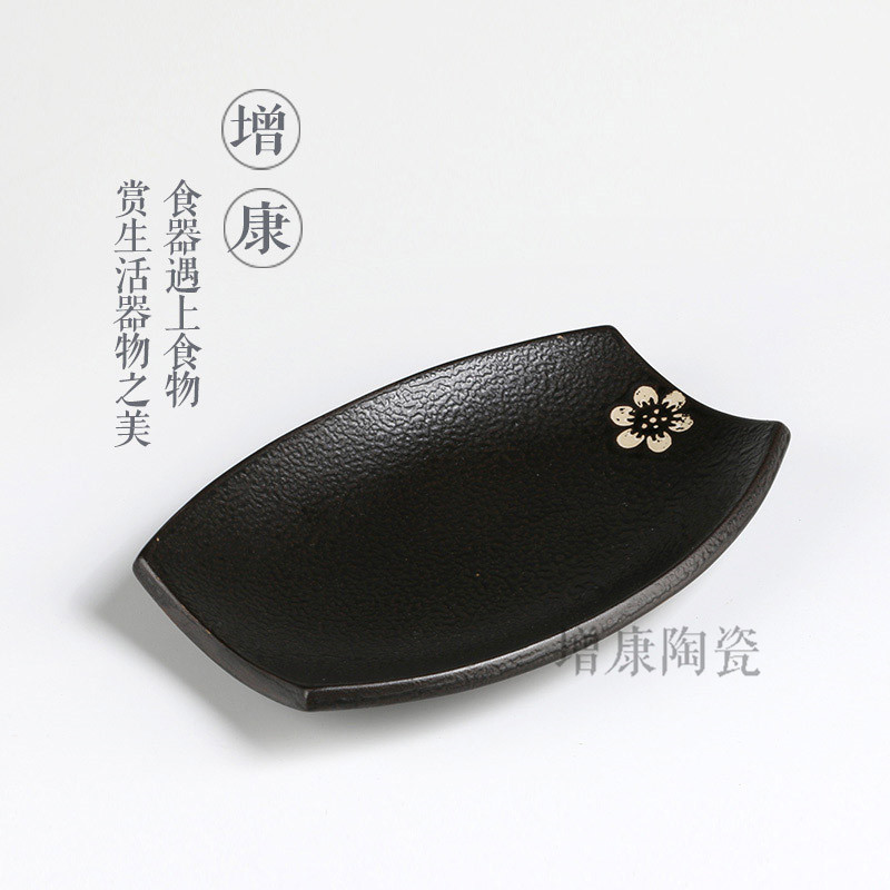 Japanese retro black gold  dish drum ceramic rectangular steamed whole fish dish hotel hotel tableware dishes and plates sets