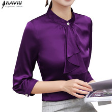 Primavera 2019 camisa elegante con volantes ropa a la moda para mujer Blusa de gasa de media manga ajustada Tops Ropa de Trabajo de talla grande para mujer de oficina