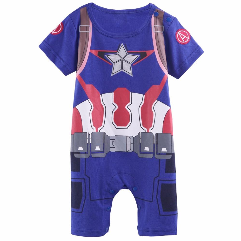 Baby Boys Captain America Costume Romper Infant Party Playsuit Jumpsuit Short Sleeve Size 0-24M