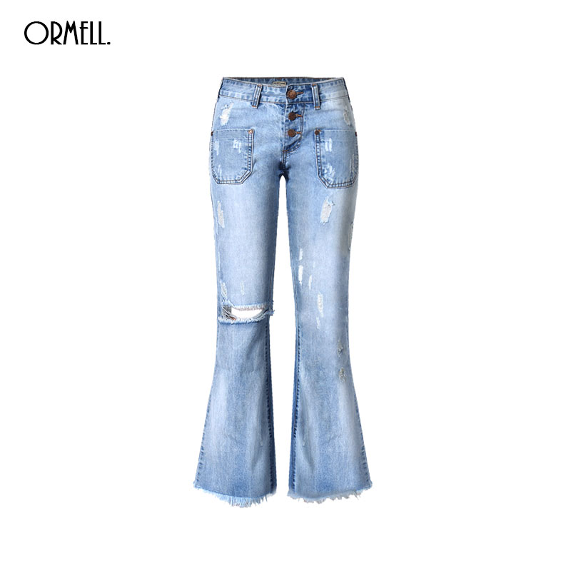 ORMELL Women Fashion Blue Denim Loose Wide Leg Pants Jeans Low Waist Stylish Hole Casual Streetwear Trousers Pantalones women girls casual vintage wash straight leg denim overall suspender jean trousers pants dark blue