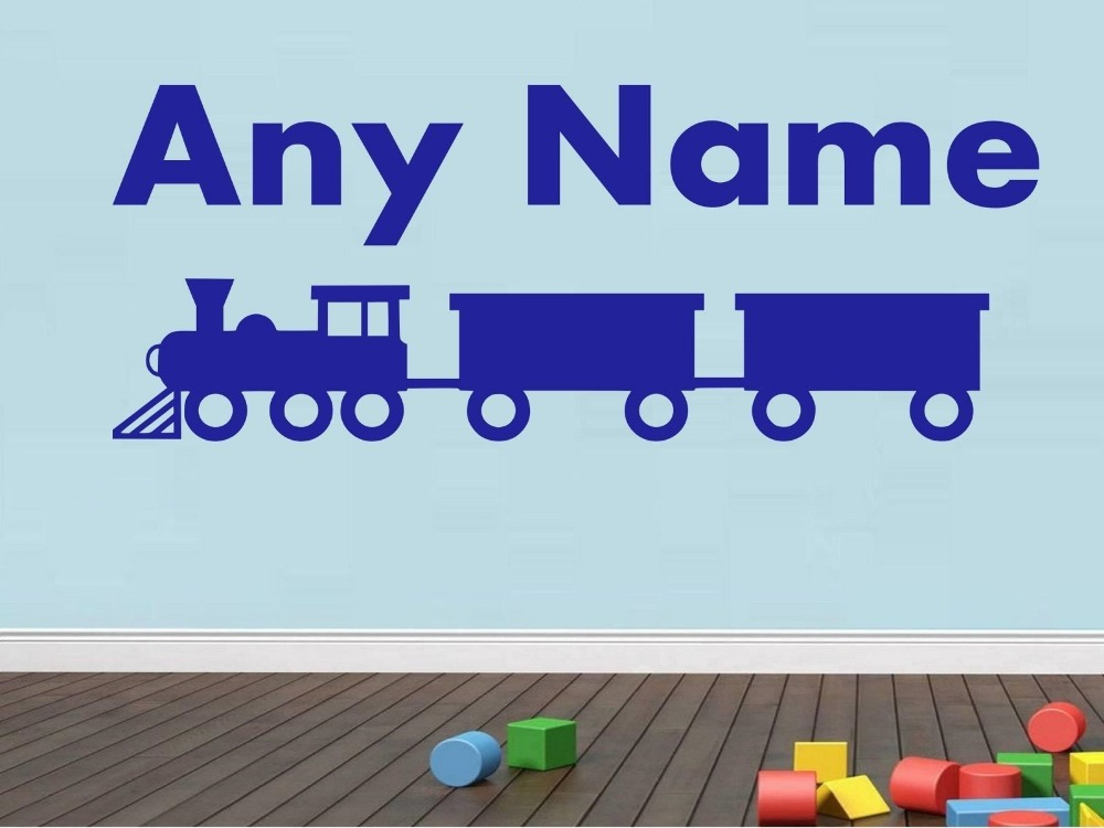 Personalised Train Any Name Vinyl Wall Sticker Art Decal Kids Room Boys Bedroom Wall Decor Custom Design Gift For Baby JW162