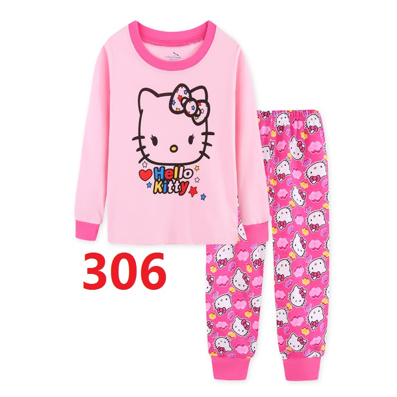 Girls Cotton Pajamas Sets Children's Cartoon Long Sleeved Casual Clothing Sets Girl High Quality Pyjamas Set