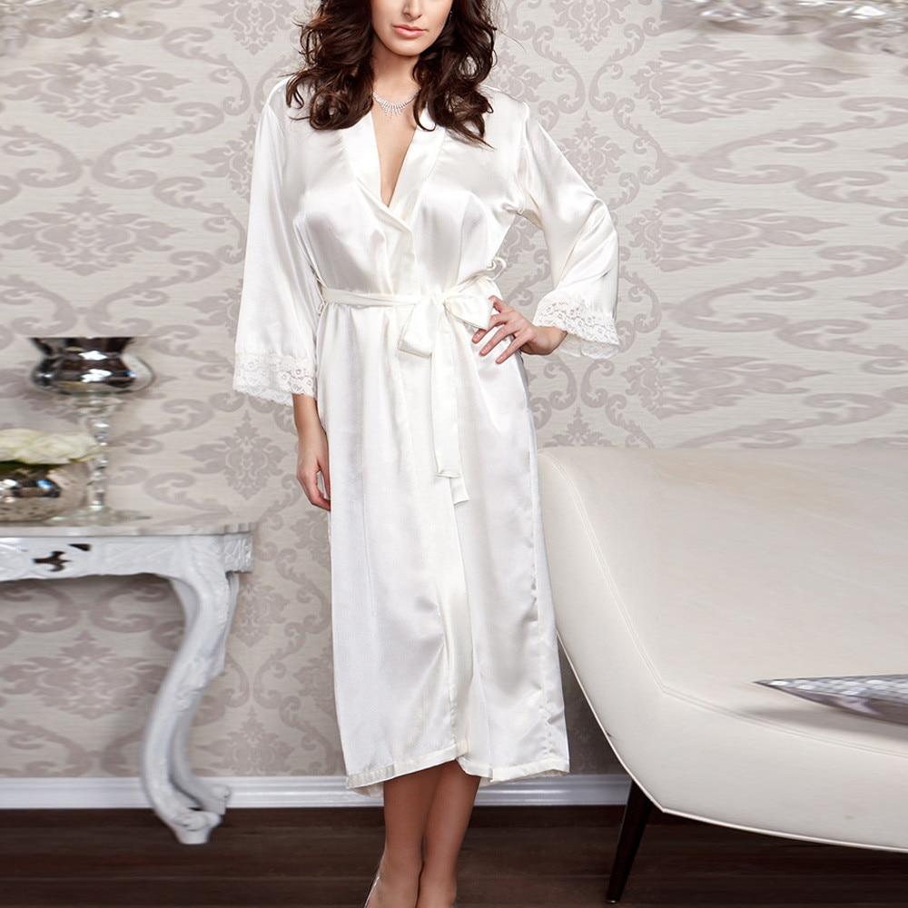 Women\'S Satin Silk Female Lace Bathrobe Woman Lace Robe Womens Robes Sleepwear Ladies Sexy Robe For Women
