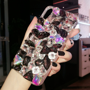 Image 3 - Luxury Crystal Gem Rhinestone Cases For iphone 11 12 Pro X XS MAX XR Soft Edge Clear Phone Cover For iphone 5S 6S 7 8 PLUS Capa