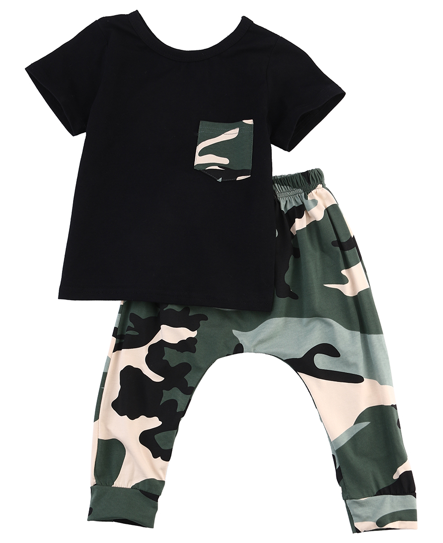 Newborn Kids Baby Boy Summer Clothes Set T-shirt Tops Pants Outfits Boys Sets 2Pcs 0-3Y Camouflage