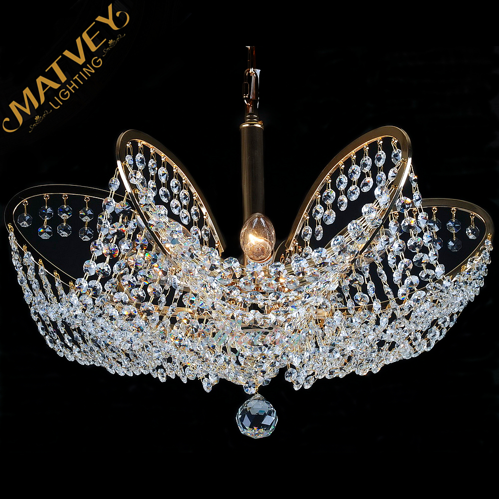 Crystal Pendant lamp Italian style, Luxury chandelier K9 crystal, E14,  French gold,  in stock, quick delivery