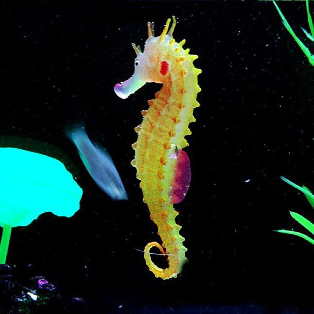 Silicone Artificial Luminous Glowing Effect Sea Horse Aquarium Fish Tank Simulation Jellyfish ...