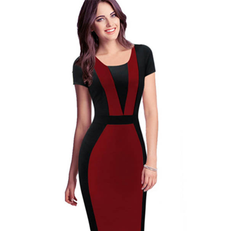 25fd76f0b7 -O decote 2016 Mais Novo Vermelho e Preto S-XXL OL Senhoras Escritório  Trabalho Do Partido Moda Do Vestuário Das Senhoras Casuais L36100-2