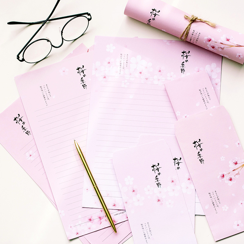 9 Pcs/Set 3 Envelopes+6 Letter Papers Japanese Cherry Blossom Series Letter Envelope Set Gift Stationery