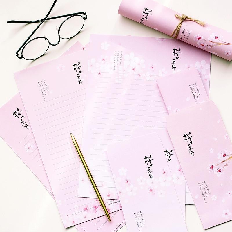 9 Pcs/Set 3 Envelopes+6 Letter Papers Japanese Cherry Blossom Series Letter Envelope Set Gift Stationery