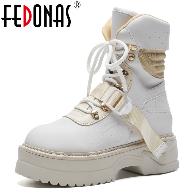 FEDONAS New Women Platforms Punk Ankle Boots Corss tied Warm Autumn Winter Punk Motorcycle Boots Hot