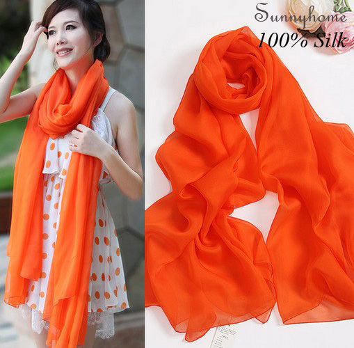 Bohemian Baby Scarf 100% Silk Shawls Islamic Hijab Capes 2016 Summer Orange Sunscreen Beach Shemagh Jilbab Scarves for Women