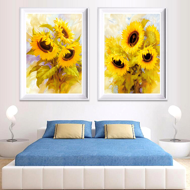 2 Panel Art Canvas Painting Home Decoration Modern Abstract Flower ...