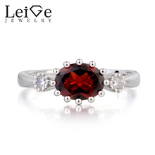 Leige Jewelry Wedding Ring Natural Red Garnet Ring January Birthstone Oval Cut Red Gemstone 925 Sterling Silver Ring for Women