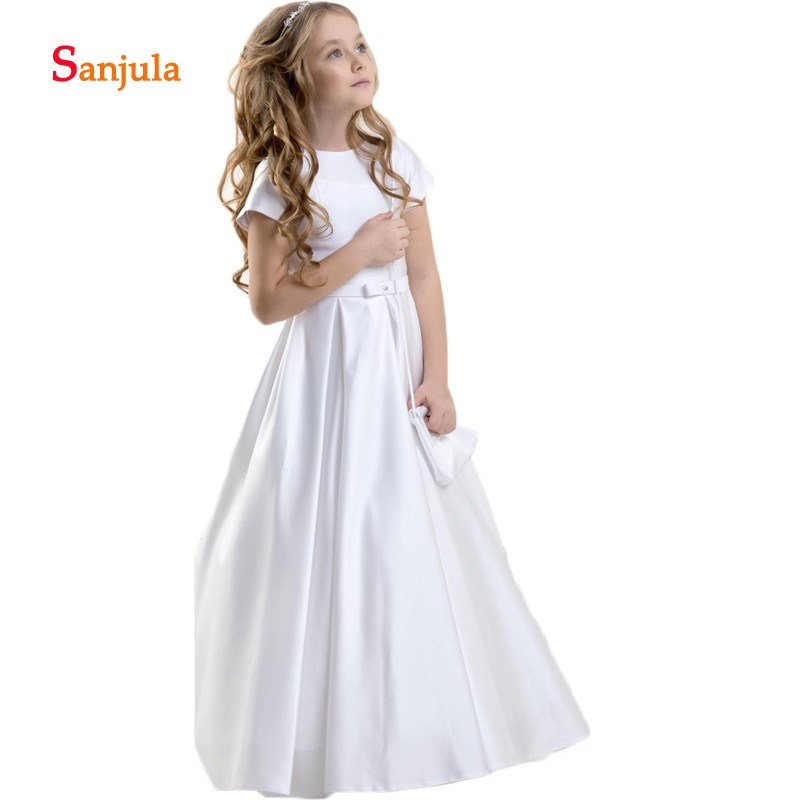 Simple White Satin Wedding Party   Dresses   Short Sleeve First Communion   Dresses     Girls     Flower     Girls     Dresses   vestido daminha D179