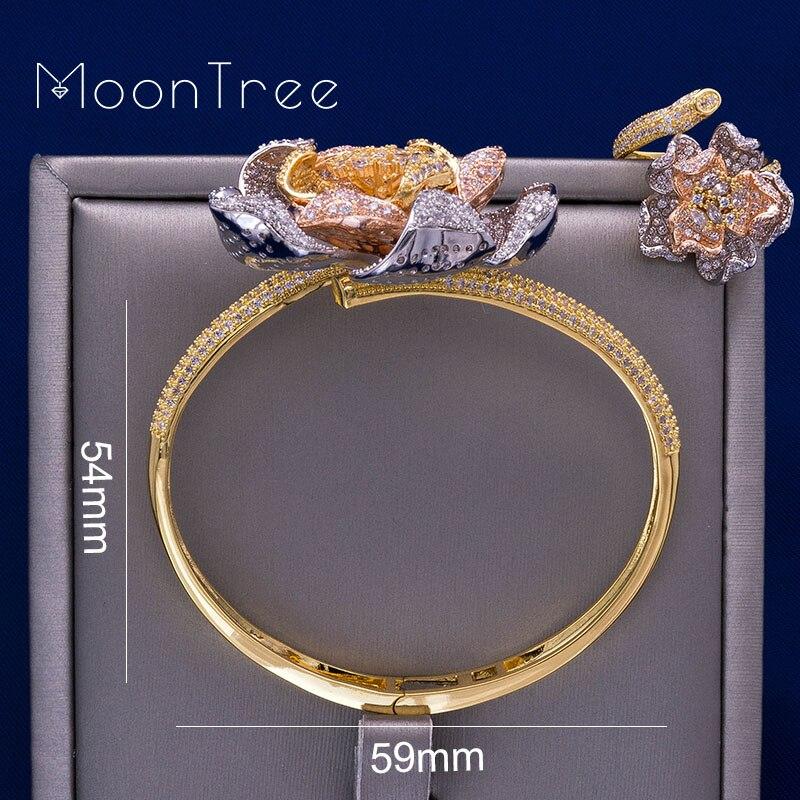 MoonTree mode luxe fleur luxe strass mariage bijoux ensembles trois couleurs couche cuivre tresse forme anneau bracelet ensemble-in Parures de bijoux from Bijoux et Accessoires    3