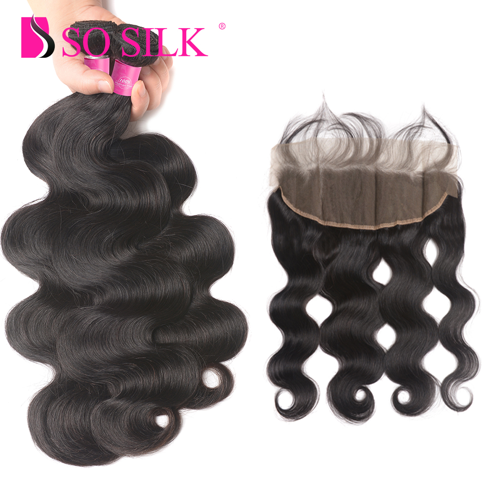 Remy Human Hair Body Wave 13X4 Lace Frontal With Bundle Natural Color Brazilian 3 Bundle Deals With Frontal Free Part So Silk