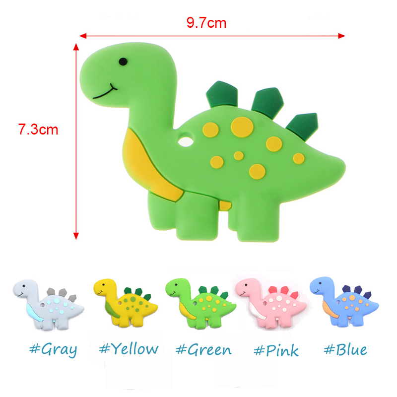 US Silicone Teething Toy Baby Teether Beads DIY Chew Necklace Dinosaur Pendant
