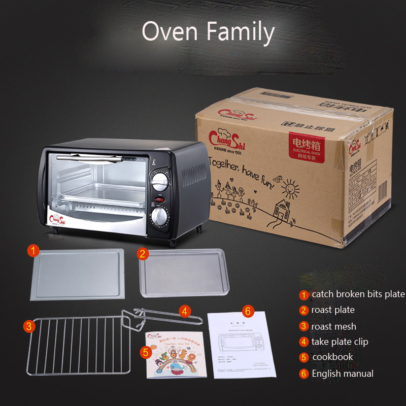 Household Mini Baking Oven 12L Stainless Steel Electric Glass Oven Cake Toaster Kitchen Appliances CS1201A цена