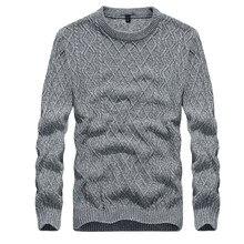 ba040d4ada04 2019 nuevo suéter para hombre suéteres de punto cálido suéter de otoño para  hombre moda a cuadros manga larga ajustado cuello re.